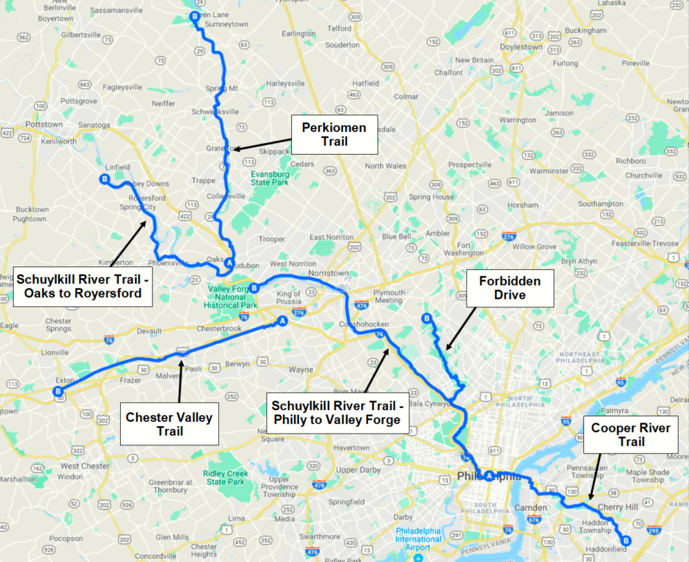 Philadelphia Day Rides Map 1