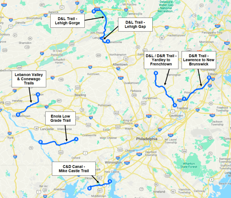 Philadelphia Day Rides Map 2